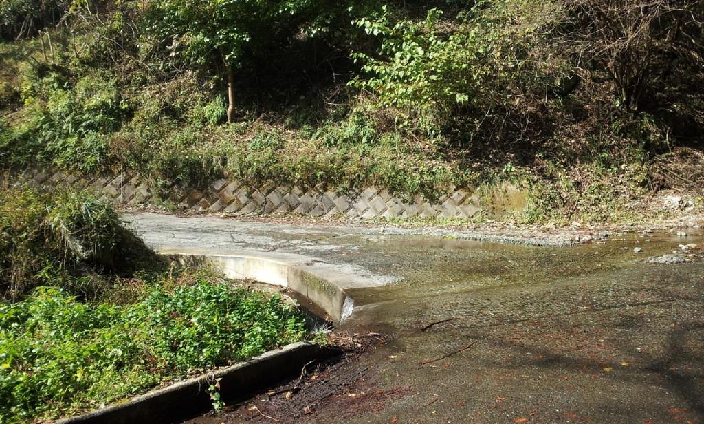 川が流れる林道