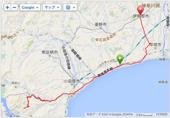 平塚をスタートして箱根・国道1号線の最高地点へ