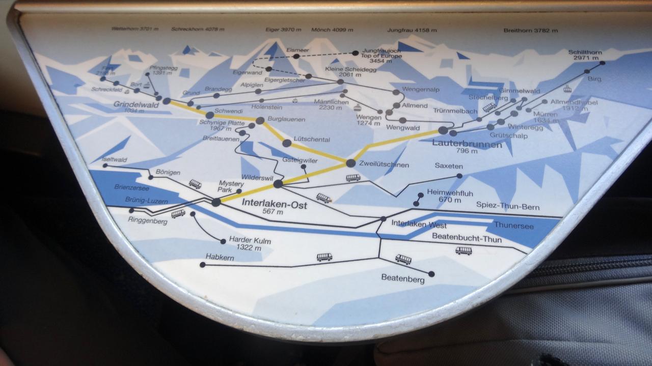 ベルナーオーバーラント鉄道 路線図